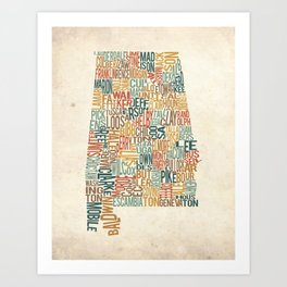 Alabama by County Art Print
