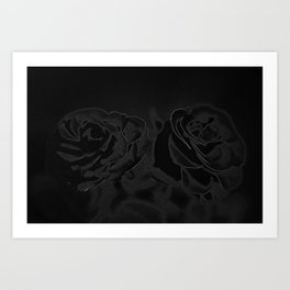 A pair of roses in black Art Print