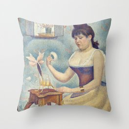 Georges Seurat - Young Woman Powdering Herself Throw Pillow