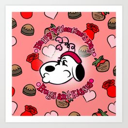 Kissy Lips Snoopy Art Print