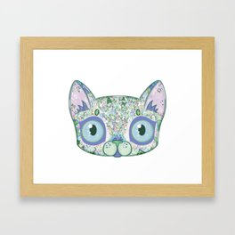 Chromatic Cat III (Green, Blue, Pink) Framed Art Print