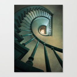 Wooden spiral staircase Canvas Print