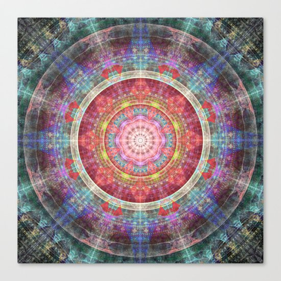 groovy colourful mandala filled with tribal patterns Canvas Print