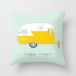 Yellow Happy Camper Throw Pillow