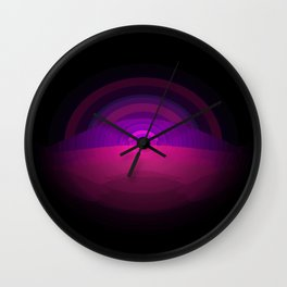 Pink Purple Digital Ombre Gradient Wall Clock