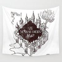 marauders Wall Tapestries featuring MARAUDERS MAP by ThreeBoys