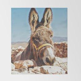 Donkey photo Throw Blanket