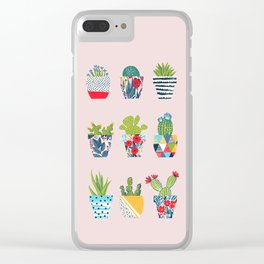 Funny cacti illustration Clear iPhone Case