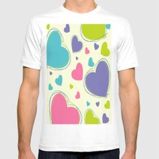 Cute Playful Hearts Pattern White Mens Fitted Tee MEDIUM