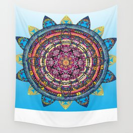 Circle of Emotions in Blue Wall Tapestry