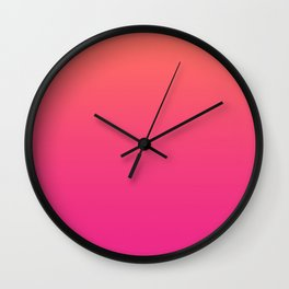 Coral Bright Pink Ombre Gradient Pattern Orange Peachy Soft Trendy Texture Wall Clock