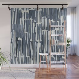 Simply Bamboo Brushstroke Indigo Blue on Lunar Gray Wall Mural