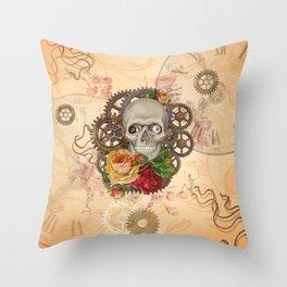 Steampunk Skull Throw Pillow