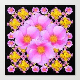 Cerise Pink Roses Black-Gold Floral Pattern Art Canvas Print