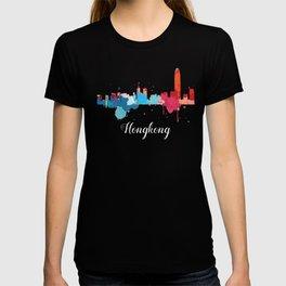 Hong Kong Cityscape Watercolor T-shirt