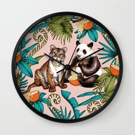 Noodle Jungle Fantasy on pale dusty pink  Wall Clock