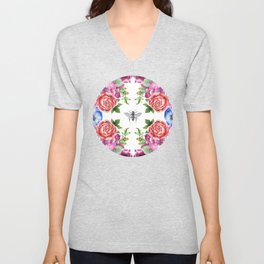 Honey Bee with Floral Watecolor Unisex V-Neck