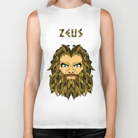mythology Biker Tanks featuring Greek Mythology ZEUS by TECHNE