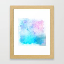 Turquoise Pink Watercolor Texture Framed Art Print
