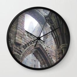 Whitby Abbey in Fog #2 Wall Clock