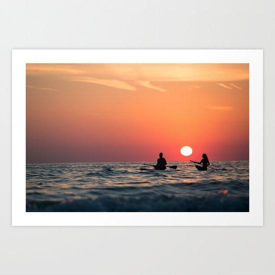 man woman boat rowing in sea Art Print
