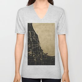 Chicago Black and Gold Street Map Unisex V-Neck