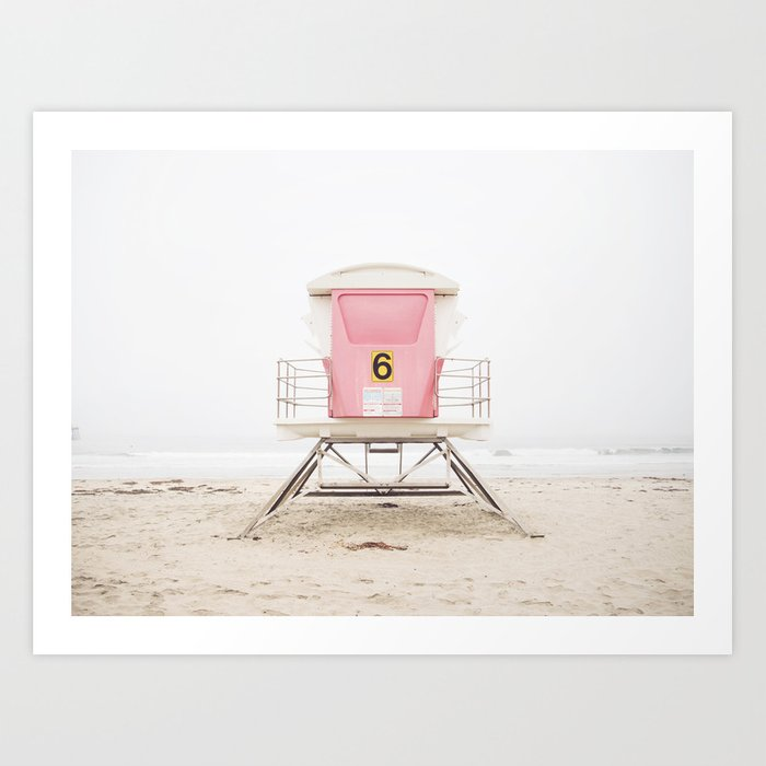 Beach photography pink tower Kunstdrucke