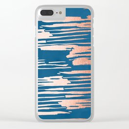Tiger Paint Stripes - Sweet Peach Shimmer on Saltwater Taffy Teal Clear iPhone Case