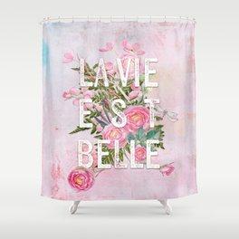 lavie est belle watercolor pink flowers roses rose flower shower curtain