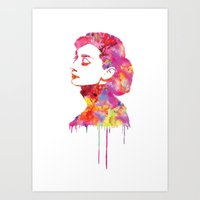 audrey Art Prints featuring Audrey by Fimbis