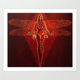 Dragonfly goddess Art Print