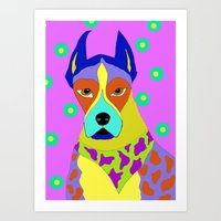 great dane Art Prints featuring Great Dane by Ladybumblebee