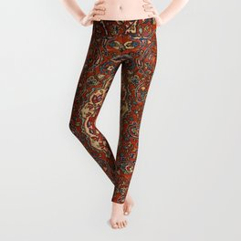 Persia Isfahan 19th Century Authentic Colorful Red Blue Tan Vintage Patterns Leggings