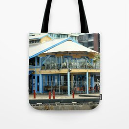 The blue Restaurant Tote Bag