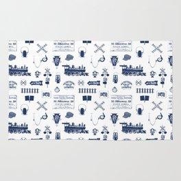 Railroad Symbols // Navy Blue Rug