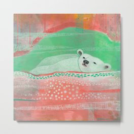 Peach Polar Bear  Metal Print