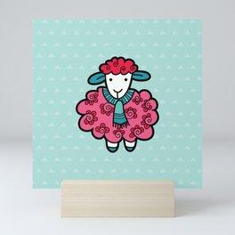 Doodle Sheep on Aqua Triangle Background Mini Art Print
