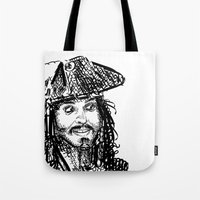 jack sparrow Tote Bags featuring Jack Sparrow by Brittney Patterson