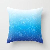 fibonacci Throw Pillows featuring Blue Fibonacci Circles by Alexandra Love + Beautiful Chorus