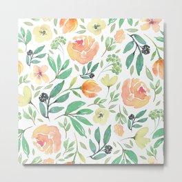 Peach & Yellow Watercolors Flowers Pattern Metal Print