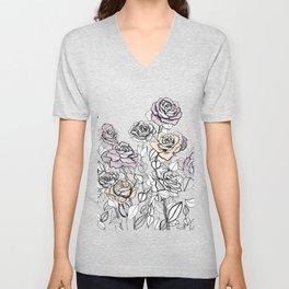 Rose Bush Drawing | Graphic Design Unisex V-Neck