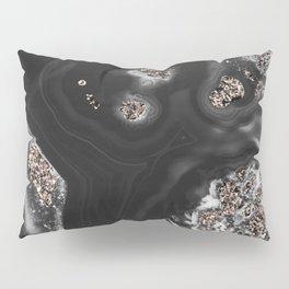 Black Malachite with Rose Gold Glitter #1 #shiny #gem #decor #art #society6 Pillow Sham