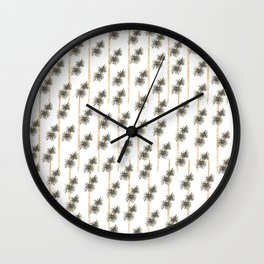 Pine leaves with golden stripes seamless pattern Wall Clock