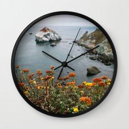 Big Sur Coast Wall Art | California Highway 1 Nature Flowers Ocean Beach Coastal Travel Photography Print Wall Clock
