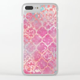 Layered Patterns - Pink, Coral, Turquoise and Cream Clear iPhone Case