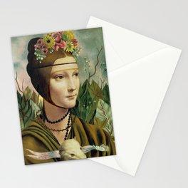 F.K.'s Self Portrait & Leonardo's Lady with a Ermine Stationery Cards