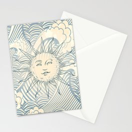 Sun sitting amongst the ocean Stationery Cards