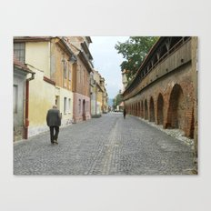 Old Walls, Old Man Walking Canvas Print