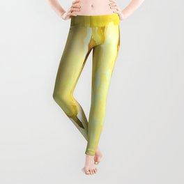 Pale Yellow Tulips Abstract Floral Pattern Leggings