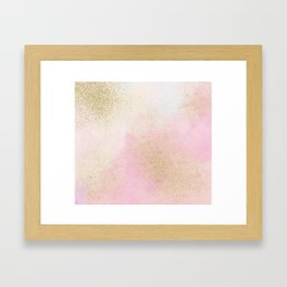 Pretty In Pink And Gold Delicate Abstract Painting Framed Art Print